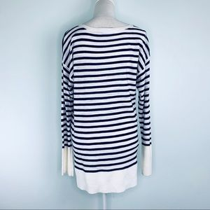 LOFT Tops - Loft Cream & Navy Blue Stripe Long Sleeve Knit
